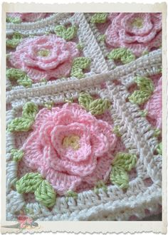 Shabby chic pink roses crochet by lucinda Granny Square Crochet Pattern, Crochet Blocks, Crochet Diagram, Crochet Squares, Crochet Granny, Crochet Motif, Crochet Flowers, Crochet Stitches, Crochet Baby