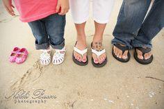 Family Maternity Photo #feet #toes #sand #beach www.NikkiBaconPhotography.com