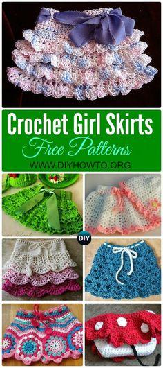 Crochet Skirts Collection of Crochet Girl's Skirt Free Patterns: Crochet Girl Summer Skirt, Shell Skirt, Ruffle Skirt, Layered Skirt via - Skirt Pattern Free, Crochet Skirt Pattern, Crochet Ruffle, Bag Crochet, Crochet Skirts, Crochet Crafts, Crochet Stitches, Crochet Projects, Crochet Patterns