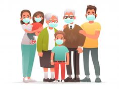 Family in protective medical masks. Mother, father, grandparents, children protect themselves from the virus or from air pollution. - Buy this stock vector and explore similar vectors at Adobe Stock Wuhan, Office Prints, Family Illustration, Man Character, Picture Logo, Event Marketing, Instagram Highlight Icons, Air Pollution, Family Day