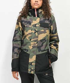 Get one of the newest members of the Aperture line with the Capitol Camo Snowboard Jacket. This jacket offers water resistance combined with breathability for a very warm and dry ride in cooler conditions. The tailored fit of the Capitol ensur Snowboarding Outfit, Snowboarding Women, Winter Hiking, Boots Online, Military Jacket, Clothes For Women, Snow Board, Jackets, Accessories