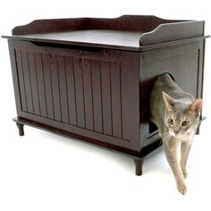 Proper cat care is important to keep in mind when looking for cool cat stuff or when assembling items for your next diy pet project. Talk about cool cat products. Check out this cool cat litter box furniture! Hidden Litter Boxes, Litter Box Covers, Cool Cat Trees, Cool Cats, Cat Litter Box Enclosure, Cat Tree Plans, Cat Shelves, Cat Room, Pet Furniture
