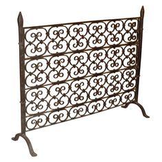wrought+iron+fireplace+screens | Iron Fireplace Screen USA 1950's A standing single pane wrought iron ...