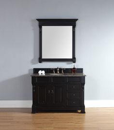 """James Martin 147-114-5236-TBR Brookfield 48"""" Antique Black Single Vanity w/ Drawers with Tropical Brown Stone Top"""