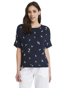 This navy boxy top features short sleeves and an all-over white bird print. Boxy Top, Dressy Tops, Striped Tee, Colorful Shirts, Night Out, Fashion Outfits, Bird, Short Sleeves, Clothes