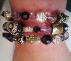 Memory Wire Bracelet With Black, Gold, and Clear Acrylic Beads. $5