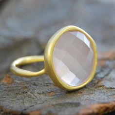RoseCut Pink Chalcedony Gold Ring by EmbersJewelleryShop on Etsy, £36.75