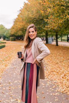 Gal Meets Glam London In October - Max Mara coat, Co sweater, Gabriella Hearst skirt, Aquazzura boots & Fendi bag
