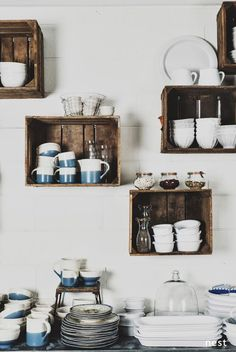 The Eat-in Kitchen Super affordable way to add kitchen shelves using old crates. great storage and organization tip for a pantry.Super affordable way to add kitchen shelves using old crates. great storage and organization tip for a pantry. Old Crates, Wooden Crates, Wooden Boxes, Crates On Wall, Wooden Box Shelves, Vintage Crates, Wine Crates, Kitchen Shelves, Kitchen Storage
