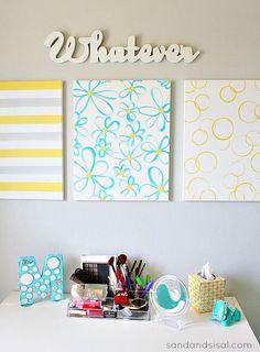 Easy DIY Wall Art - Yellow + Gray + Turquoise watercolor art.