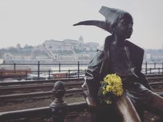 "The ""little princess"" statue on the railing of the #danube promenade #budapest #hungary"