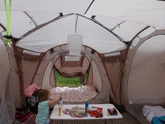 three bedroom tent has airbeds and lighting. Glamping
