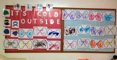 Classroom Board Decoration. Winter. Mittens. It's cold outside. Colouring.