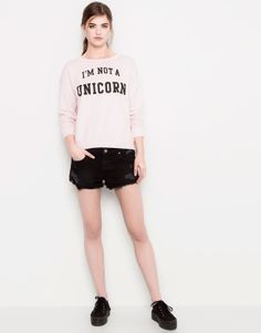 :SWEAT-SHIRT TEXTE PULL&BEAR WOMAN