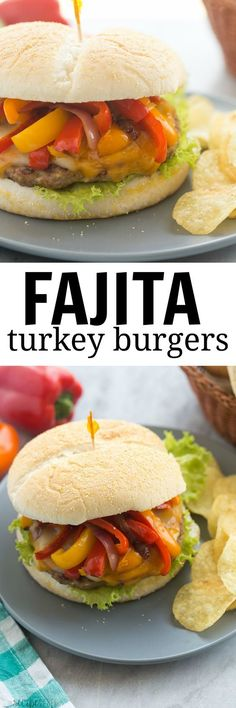 These Fajita Turkey Burgers are seasoned with Mexican spices and loaded with peppers, onions and cheese — they're Chicken Fajitas in sandwich form! A fun, healthy twist on a burger!