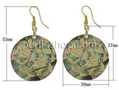 Seeohr Muschel Tropfen Ohrring, flache Runde, goldfarben plattiert, Golddruck, andere, 30x37x3mm, 53mm, - perlinshop.com