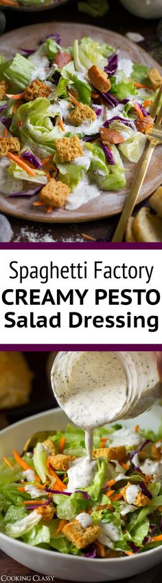 Creamy Pesto Salad Dressing - Old Spaghetti Factory copycat! This is the easiest dressing I make it all the time. Everyone in my family loves it and it only takes minutes to make! via @cookingclassy