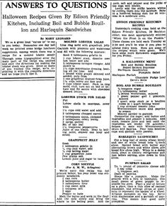 "Halloween recipes published in the Boston Herald newspaper (Boston, Massachusetts), 28 October 1931. Read more on the GenealogyBank blog: ""Old Halloween Recipes from Our Ancestors' Kitchens."" http://blog.genealogybank.com/old-halloween-recipes-from-our-ancestors-kitchens.html"