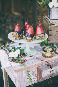 Pears dipped in chocolate and nuts #wedding #winter #weddingdessert #desserttable #diywedding