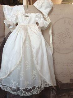 Christening boy or girl Royal Gown with Bonnet-heirloom baptism-Jensen - ElenaCollection - 1