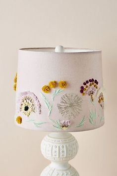 Olga Prinku Embroidered Lamp Shade by Anthropologie in Purple, Lighting , Do It Yourself Decoration, Garden Lamps, Botanical Art, Light Up, Floral Arrangements, Diy Home Decor, Creations, Lamp Shade Makeover, Floor Lamps
