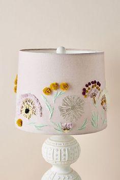 Olga Prinku Embroidered Lamp Shade by Anthropologie in Purple, Lighting , Do It Yourself Decoration, Diy Home Decor, Room Decor, Ideas Prácticas, Garden Lamps, Light Up, Floral Arrangements, Graphic Design, Design Design