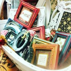 Rummage through our assorted miniature frames. Some are open and some have darling sayings mounted in them. Starting at just $3.95 #unique #upcycle #boutique #leaguecity #diy #chalkpaint #fleamarketflip #followfortags #adorable #pretty