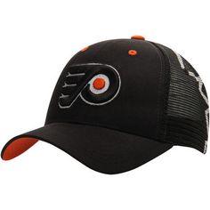 1be860dc4b4 Men s Philadelphia Flyers Zephyr Black Screenplay Trucker Adjustable Hat