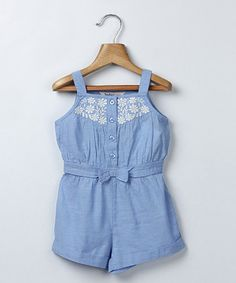 Look at this #zulilyfind! Light Blue Chambray Bow Romper - Infant & Toddler #zulilyfinds