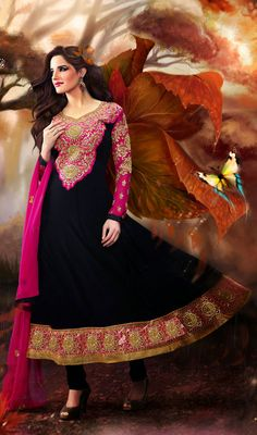 Black and Pink Georgette Long Anarkali Suit Price: Usa Dollar $104, British UK Pound £61, Euro77, Canada CA$113 , Indian Rs5616.