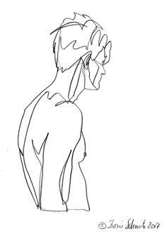 """Linienzeichnen  """"profil perdu 46″, continuous line drawing by Boris Schmitz"""