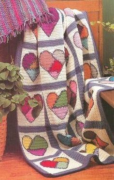 Crochet Pattern for a MENDED HEARTS AFGHAN