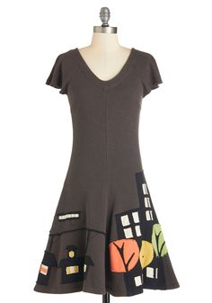 From City to Cityscape Dress. Take your adventuring from the streets to the most magnificent vista overlooking your town while the night breeze ruffles this A-line dress from Heel Athens Lab! #brown #modcloth