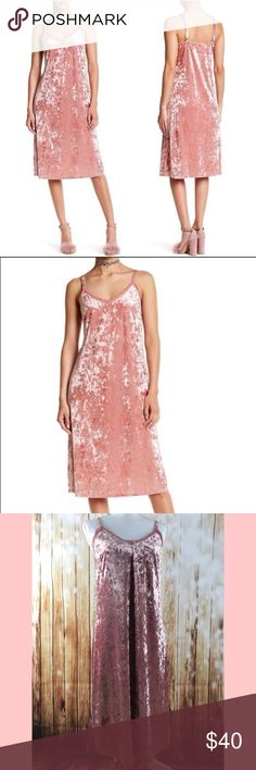 """Trendy crushed velvet blush pink slip dress New with tags crushed velvet blush pink dress from Nordstrom. Adjustable straps, fully lined, and really soft! Super trendy! 7"""" side slits, underarm to underarm 16.5"""". Underarm to bottom hem is 32"""". Lace trim around neck. Have any questions? I bet I have answers so feel free to ask! bobeau Dresses Midi"""