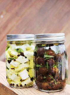Marinated olives and feta cheese: feta, olives, olive oil, dill, rosemary,  thyme, red pepper flakes, whole black peppercorns, fennel seeds.