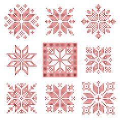 Download Nine Cross Stitch Snowflakes Pattern, Scandinavian Style Stock Vector - Image: 73332550