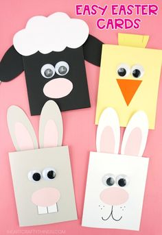 These adorable Easter cards for kids to make are simple and fun for kids of all ages. Learn how to make a cute bunny card, lamb card and chick card. cards handmade easy Easy Easter Cards for Kids Easter Card Sayings, Diy Easter Cards, Easter Messages, Easter Arts And Crafts, Amazing Animals, Diy Ostern, Kids Cards, Cards Diy, Card Crafts