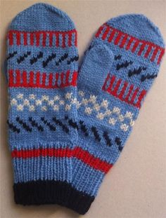 Blue homemade mittens with red, black and white pattern. Sweden.