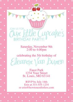 Cupcake Themed Birthday Party FREE PRINTABLES  - INCLUDES invitation, banner, placecards, cupcake toppers, etc.  Click invite to see all available.