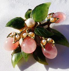 Beautiful Vintage Jade Cultured Pearls Rose Quartz Brooch Like Swoboda Gorgeous | eBay