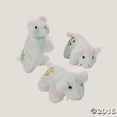 These Plush Lambs of God make inspirational gifts for your little flock at church or Sunday School! Cuddly and cute, each plush lamb has an embroidered cross ... $12 for a dozen