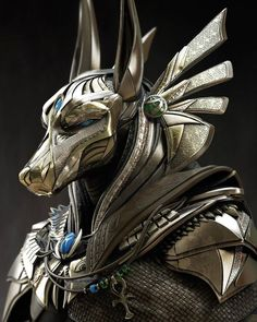 Anubis - a simply gorgeous Egyptian inspired character design by Richie Mason richie Superbly done! Zbrush, Egyptian Mythology, Ancient Egyptian Art, Ancient Greece, Egyptian Mask, Egyptian Anubis, Egyptian Costume, Ancient Egypt Religion, Ancient Aliens
