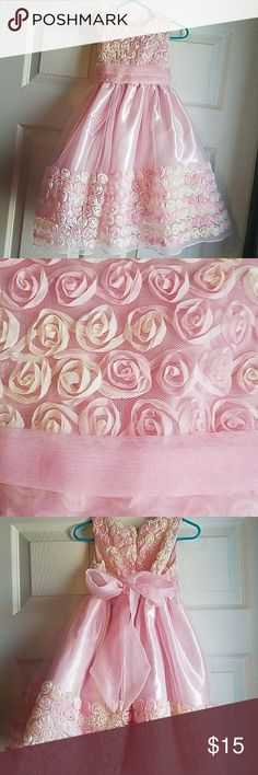 Flower dress Pink and cream roses on a pink dress. Perfect for a party! sugarplum Dresses Formal
