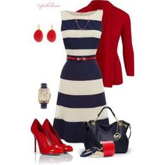 Nautical Summer dress outfit--navy and white stripe dress 7cfb512bd2
