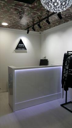 A simple slim reception desk with led Lights