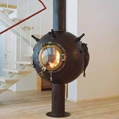 rusty-fireplace-for-minimalist-interior Steampunk fireplace if I ever did see one.