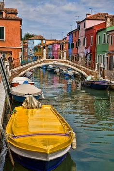 Yellow Boat in Burano, Italy