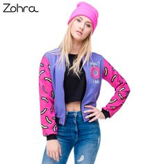 Zohra 2016 Fall Winter 3D Printed Donuts Womens Bomber Jacket Outwear full Sleeve Short Paragraph Baseball Coats Fashion Jackets