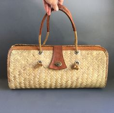 Straw and Leather Purse, Summer Fashion, Boho Look by 1006Osage on Etsy