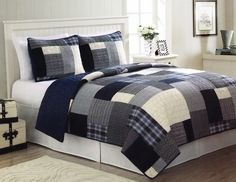 Opentip.com: PEM America QS8797QN-2300 Indigo Blues Full / Queen Quilt with 2 Shams